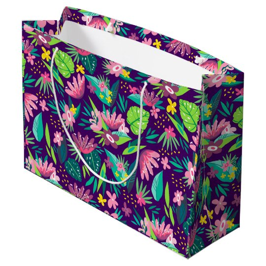 Colourful Tropical Flowers & Leafs Pattern Large Gift Bag