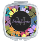 Colourful Tropical Hibiscus Monogram Compact Mirror For Makeup