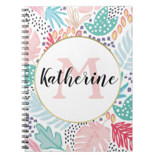 Colourful Tropical  Pattern Monogrammed Notebook