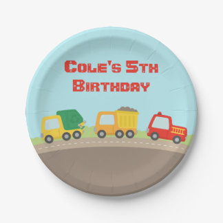Colourful Truck Boys Birthday Party Supplies 7 Inch Paper Plate