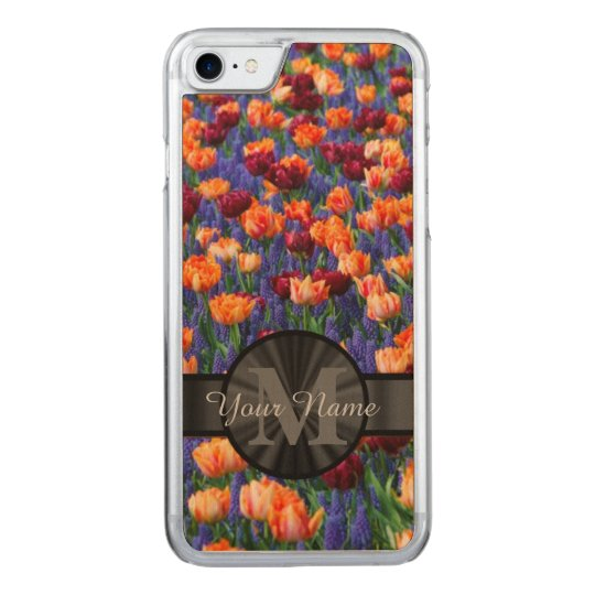 Colourful Tulip field monogrammed Carved iPhone 7 Case