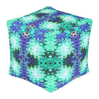 Colourful Turquoise blue abstract Pouf