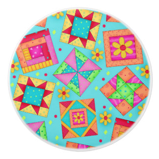 Colourful Turquoise Blue Quilt Patchwork Block Art Ceramic Knob
