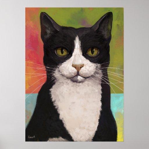 Colourful Tuxedo Cat Poster