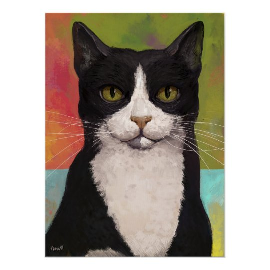Colourful Tuxedo Cat Poster