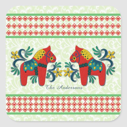 Colourful Twin Swedish Dala Horses Christmas Square Sticker