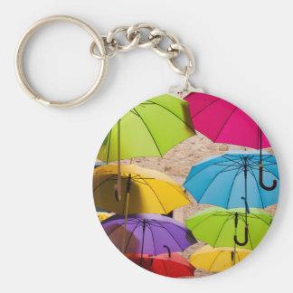 Colourful Umbrellas Basic Round Button Keychain