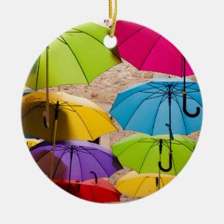 Colourful Umbrellas Ceramic Ornament
