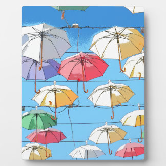Colourful Umbrellas Plaque