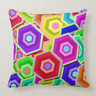 Colourful Vector Hexagon Throw Pillow