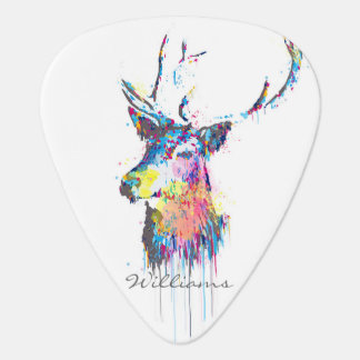 colourful vibrant watercolours splatters deer head guitar pick