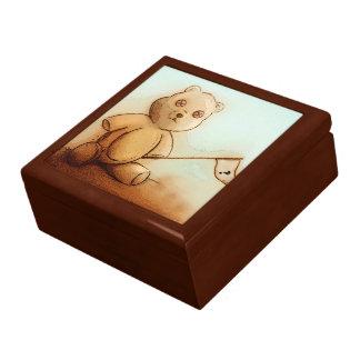 Colourful vintage bear tile gift box - Teddy