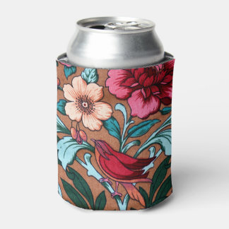 Colourful Vintage Bird Fabric Can Cooler
