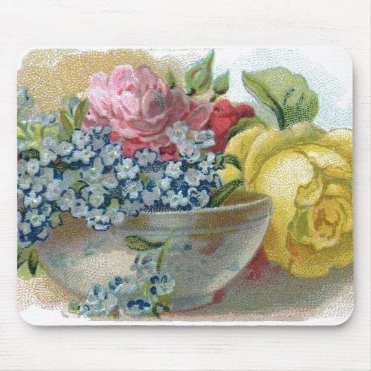 Colourful Vintage Floral Roses Mousepad