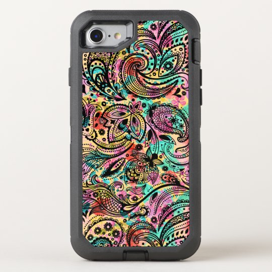 Colourful Vintage Paisley Pattern OtterBox Defender iPhone 7 Case