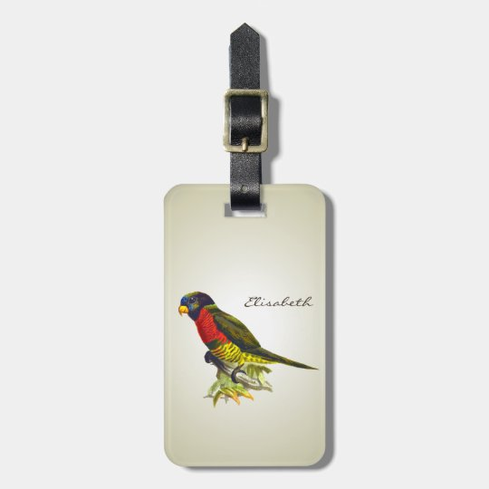 Colourful vintage parrot illustration luggage tag