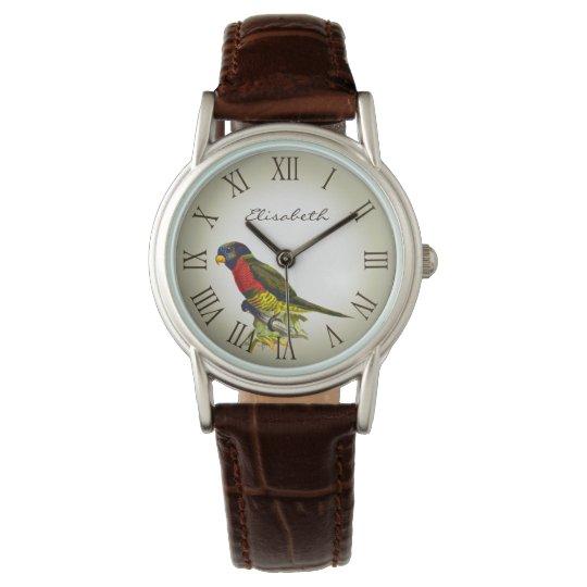 Colourful vintage parrot illustration name wristwatch