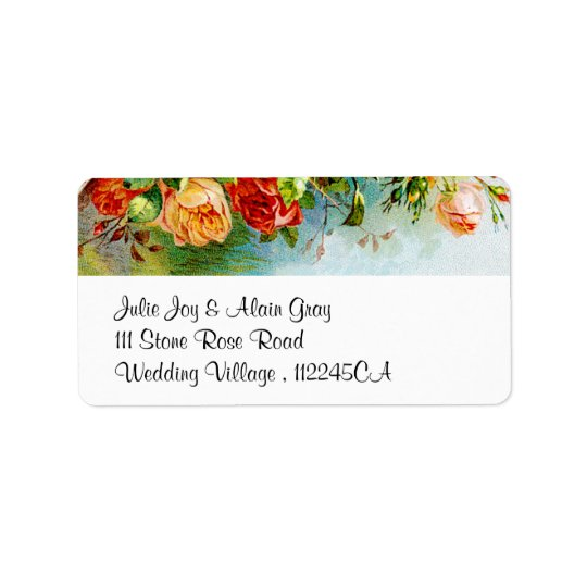 Colourful Vintage Roses Label