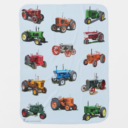 Colourful Vintage Tractor Blanket - blue Stroller Blanket