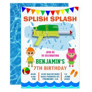 Colourful Water Gun Kids Birthday Party Invitation