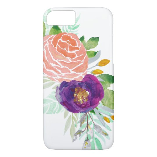 Colourful Watercolor Blossoms iPhone 7 Case