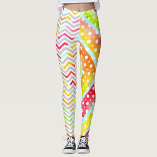 Colourful watercolor chevron, polka dot leggings