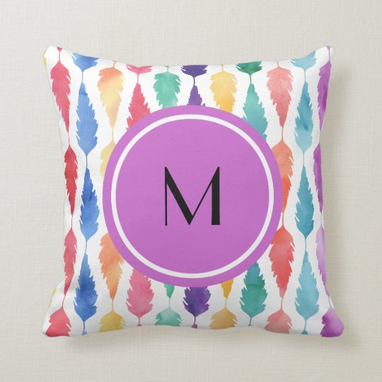 Colourful Watercolor feather Pattern With Monogram Throw Pillow