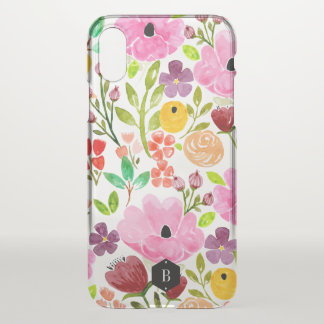 Colourful Watercolor Floral Print Personalized iPhone X Case