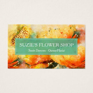 Colourful Watercolor Flowers Florist Business Business Card