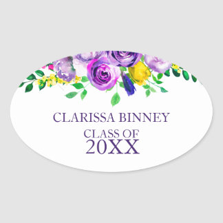 Colourful Watercolor flowers- Graduations Oval Sticker