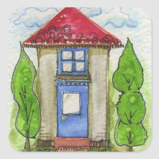 Colourful Watercolor House Painting Square Sticker