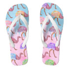 Colourful Watercolor Painted Ostrich Pattern Flip Flops