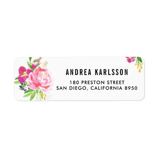 Colourful Watercolor Spring Blooms Address Label