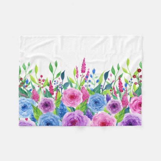 Colourful Watercolor Spring Flowers Fleece Blanket
