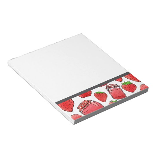 Colourful watercolor strawberries & jams notepad