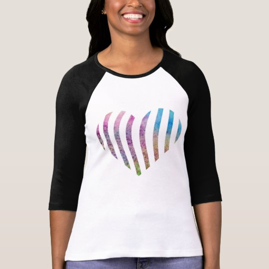 Colourful watercolor striped heart T-Shirt