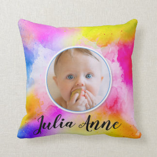 Colourful Watercolor Unisex Baby Photo Photograph Throw Pillow