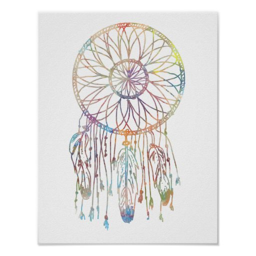 Colourful Watercolor Whimsical Dream Catcher Poster