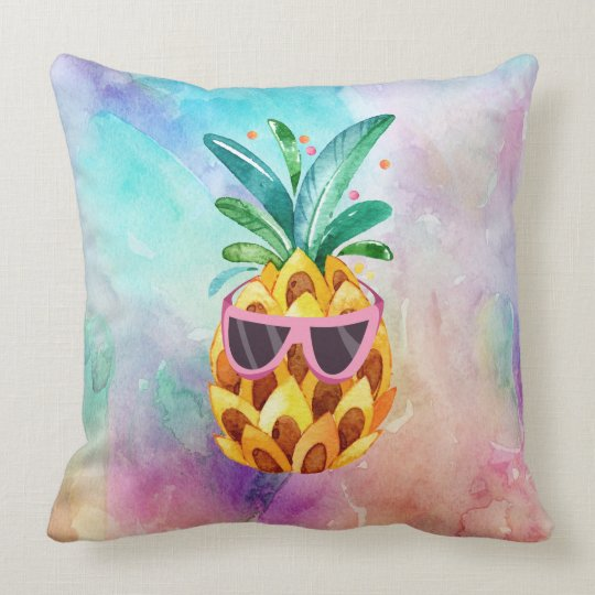 Colourful Watercolors background Cute Pineapple Throw Pillow
