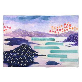 Colourful Watercolour Landscape Painting Placemat