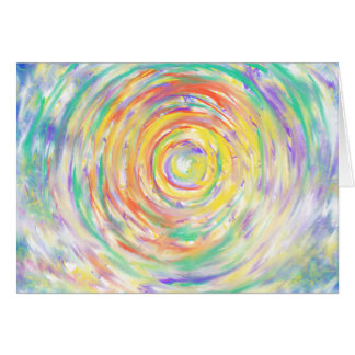 Colourful Watercolour Spiral Abstract Art Painting Card