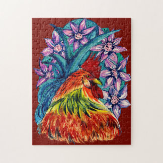 Colourful Watercolour Year of the Rooster Jigsaw Jigsaw Puzzle