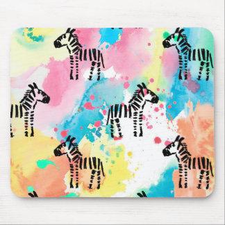 Colourful watercolour zebra print mouse pad