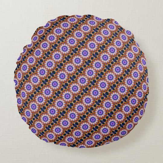 Colourful waves kaleidoscope  | round pillow