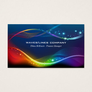 Colourful Waves Lines Business Card