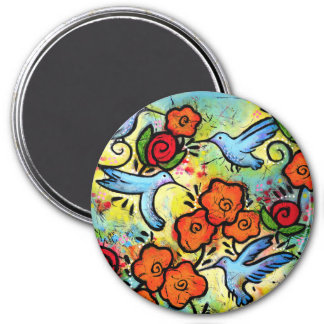 Colourful Whimsical Hummingbird Wildlife Animals Magnet
