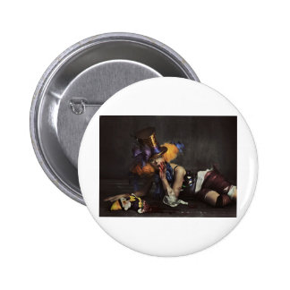 Colourful Woman Dressed as Clown 2 Inch Round Button