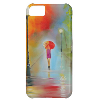 Colourful woman with a red umbrella iPhone 5C covers