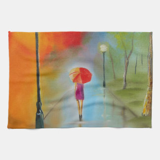 Colourful woman with a red umbrella towels
