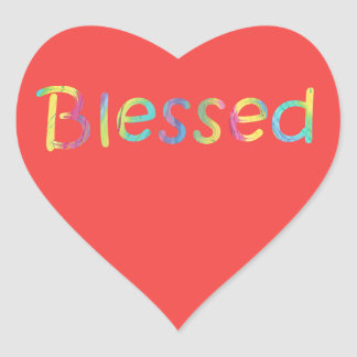 Colourful Word Blessed Red Heart Stickers
